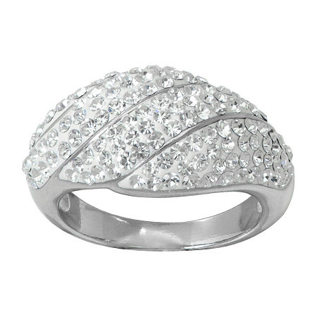 Womens White Crystal Sterling Silver Cocktail Ring, 7