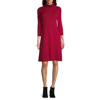 Black Label by Evan-Picone 3/4 Sleeve Sweater Dress