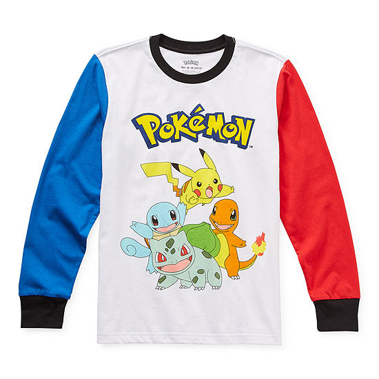 Little & Big Boys Crew Neck Pokemon Long Sleeve Graphic T-Shirt