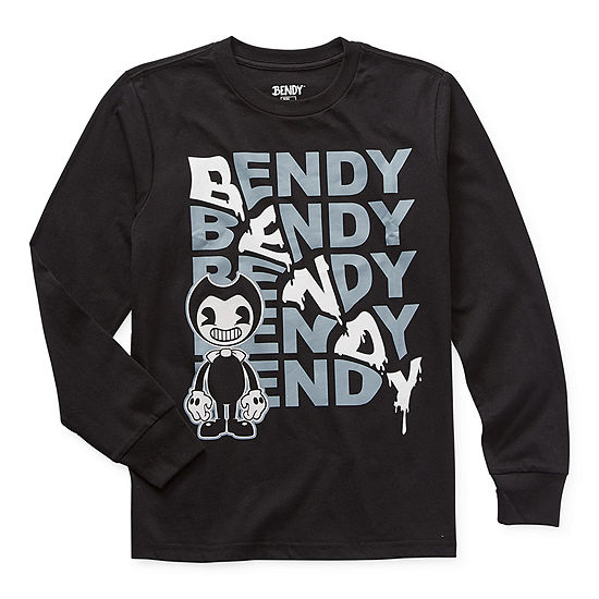 Bendy Little & Big Boys Crew Neck Long Sleeve Graphic T-Shirt