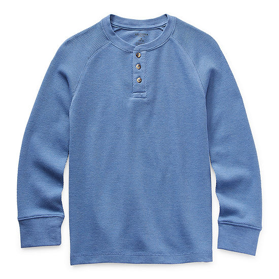 Arizona Little & Big Boys Henley Neck Long Sleeve Thermal Top
