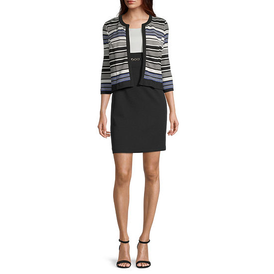 Studio 1-Petite 3/4 Sleeve Striped Jacket Dress