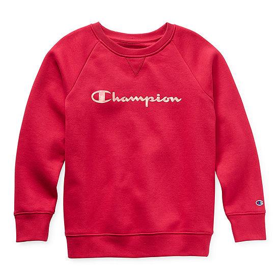 Champion Fleece Big Girls Crew Neck Long Sleeve Sweatshirt