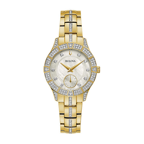 Bulova Womens Crystal Accent Gold Tone Stainless Steel Bracelet Watch - 98l283