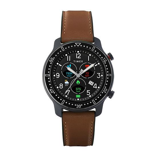 Timex Tech Metropolitan R Mens Brown Leather Smart Watch-Tw5m43100iq