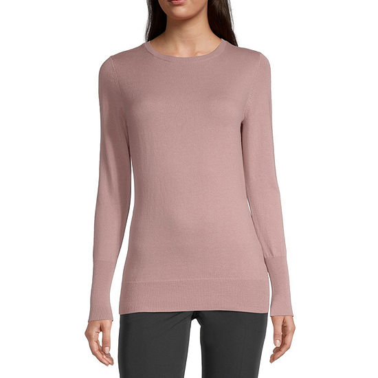 Worthington Long Sleeve Crew Neck Sweater - Tall