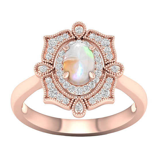 Womens Lab Created Opal 10K Rose Gold Over Silver Halo Cocktail Ring