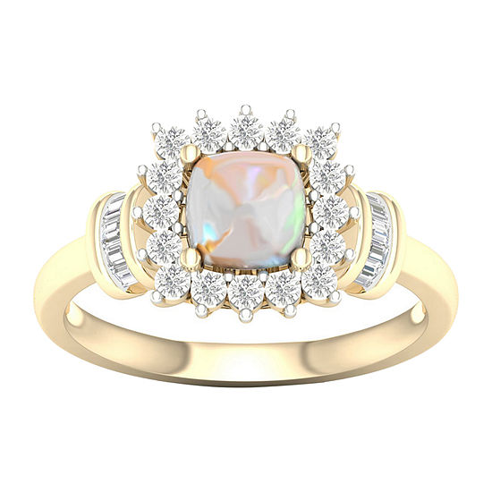 Womens Lab Created Opal 10K Gold Over Silver Halo Cocktail Ring
