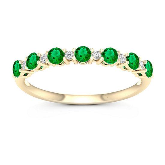 Genuine Green Emerald 10K Gold Band