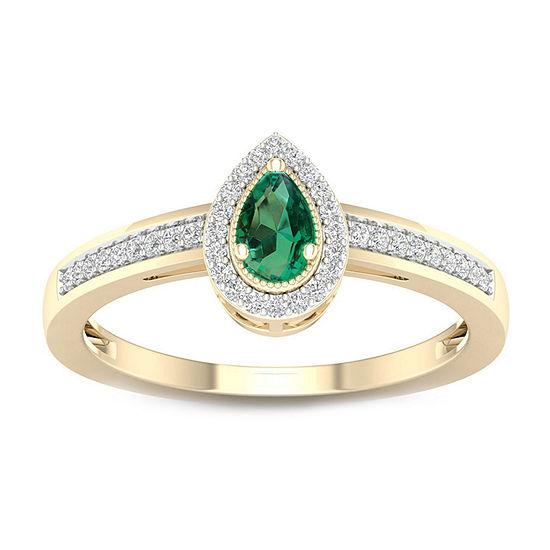 Womens Genuine Green Emerald 10K Gold Promise Ring
