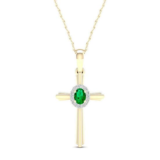 Womens Genuine Green Emerald 10K Gold Cross Pendant Necklace