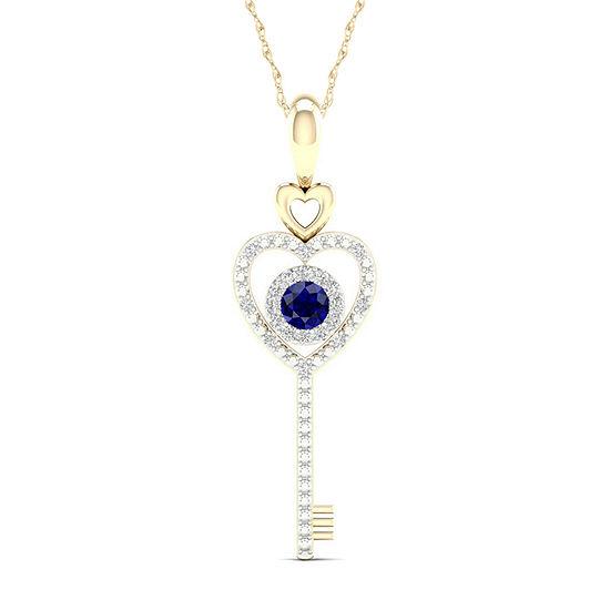 Womens Genuine Blue Sapphire 10K Gold Keys Pendant Necklace
