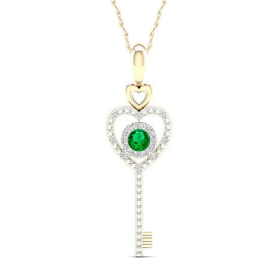 Womens Genuine Green Emerald 10K Gold Keys Pendant Necklace