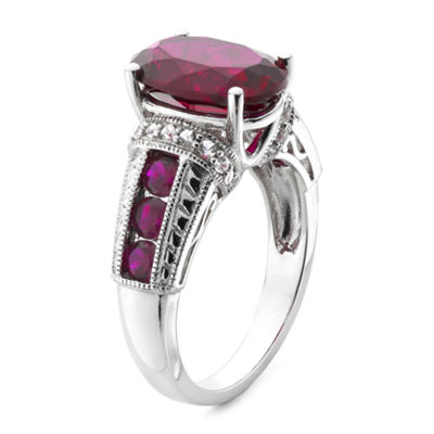 Lab-Created Ruby and White Sapphire Sterling Silver Ring