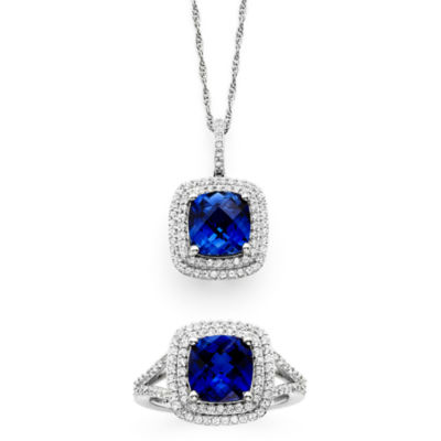 Lab-Created Blue & White Sapphire Sterling Silver Pendant Necklace and Ring Set
