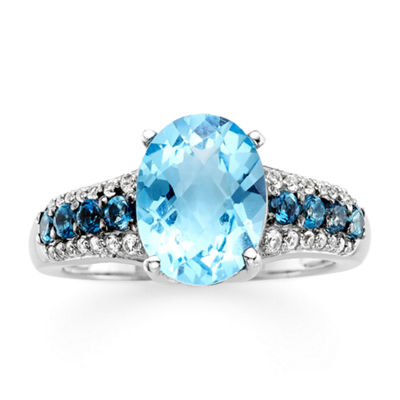 Genuine Swiss Blue and London Blue Topaz Ring