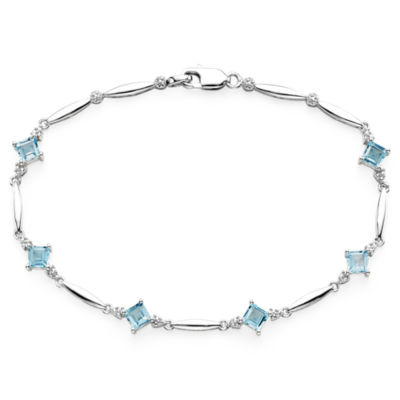 Genuine Swiss Blue Topaz and Diamond-Accent Bracelet