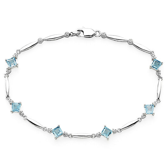 Genuine Swiss Blue Topaz and Diamond-Accent Sterling Silver Bracelet