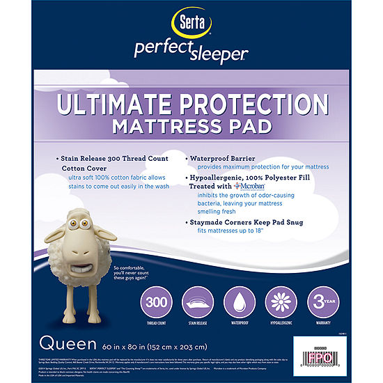 Serta® Perfect Sleeper® Microban® Ultimate Protection 300tc Mattress Pad