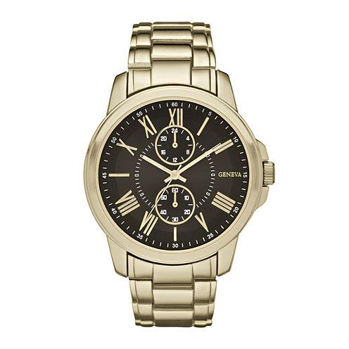 Geneva Mens Black Dial Gold-Tone Bracelet Watch