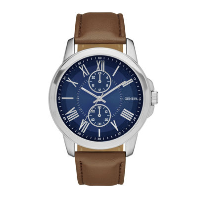 Geneva Mens Blue Dial Brown Strap Watch