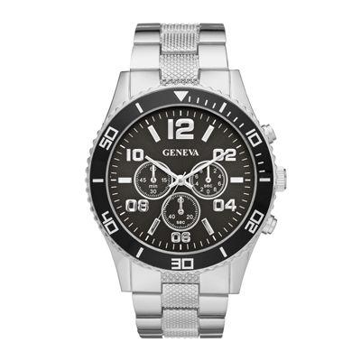 Geneva Mens Black Dial Silver-Tone Bracelet Watch