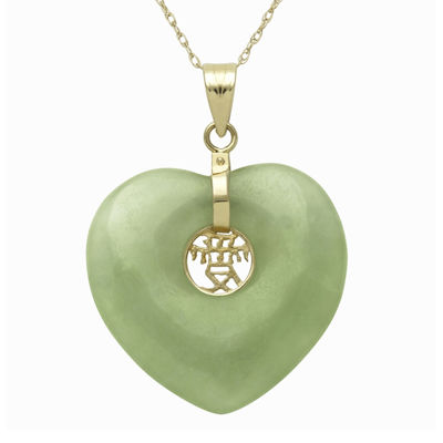 Green Jade 14K Yellow Gold Heart Pendant Necklace
