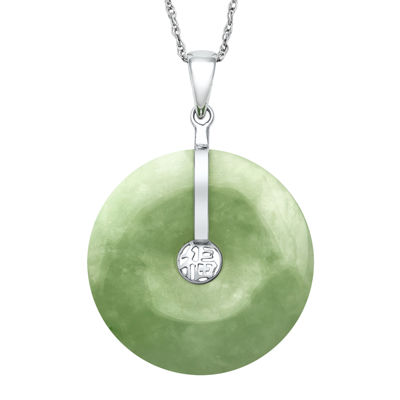 Dyed Green Jade Sterling Silver Disc Pendant Necklace