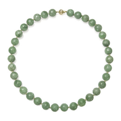 Green Jade 14K Yellow Gold Necklace