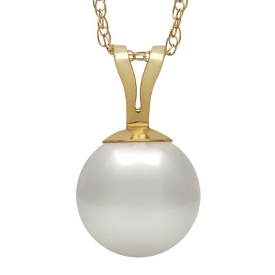 14K Yellow Gold Akoya Pearl Pendant Necklace