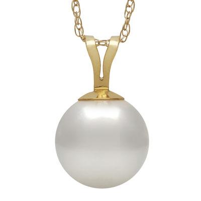 14K Yellow Gold Akoya Pearl Pendant Necklace