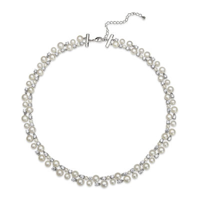 Silver Over Brass Cultured Freshwater Pearl and Cubic Zirconia Bridal Necklace