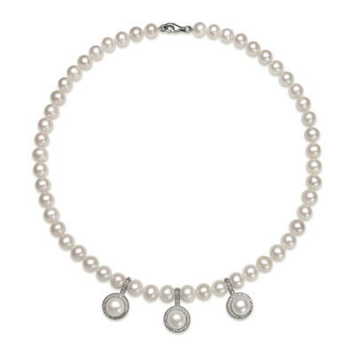 Cultured Freshwater Pearl and Cubic Zirconia Enhancer Necklace
