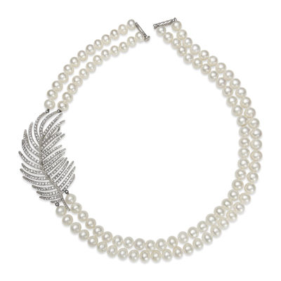Cultured Freshwater Pearl and Cubic Zirconia 2-Row Necklace
