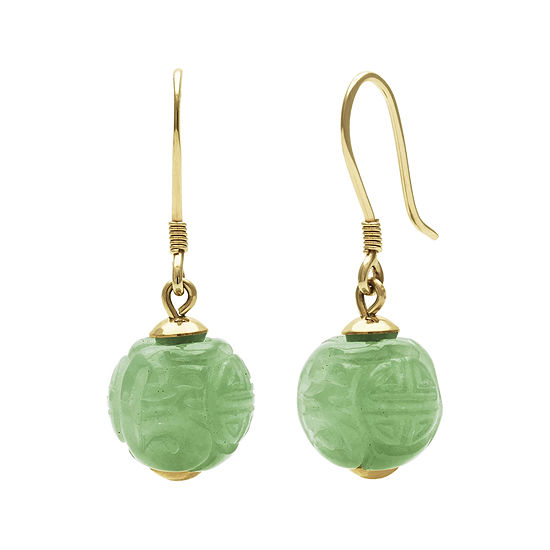 Green Jade14k Yellow Gold Carved Earrings