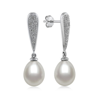 14K White Gold Cultured Freshwater Pearl and Diamond-Accent Earrings