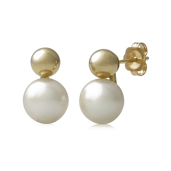 14k Yellow Gold Cultured Freshwater Pearl Earrings