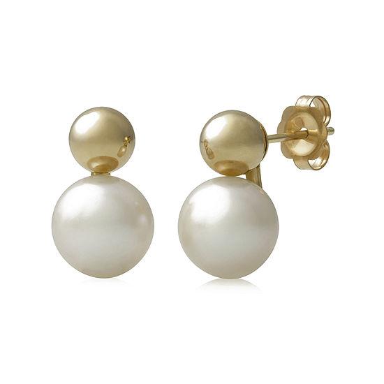14K Yellow Gold Cultured Freshwater Pearl Earrings