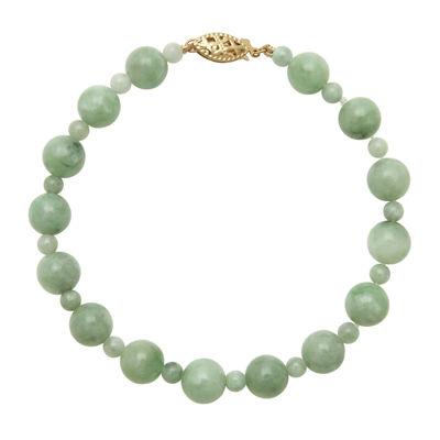 Green Jade 14K Yellow Gold Bracelet