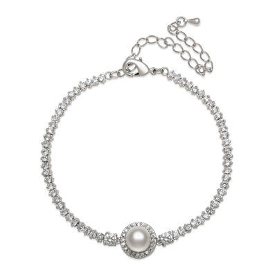 Silver Over Brass Cultured Freshwater Pearl & Cubic Zirconia Bridal Bracelet