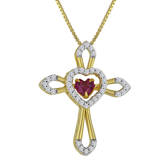 Love in Motion™ Lab-Created Ruby and White Sapphire Cross Pendant Necklace