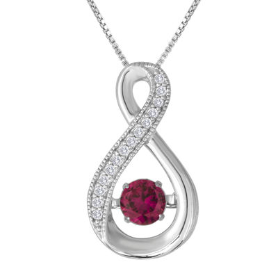 Love in Motion™ Lab-Created Ruby and White Sapphire Pendant Necklace