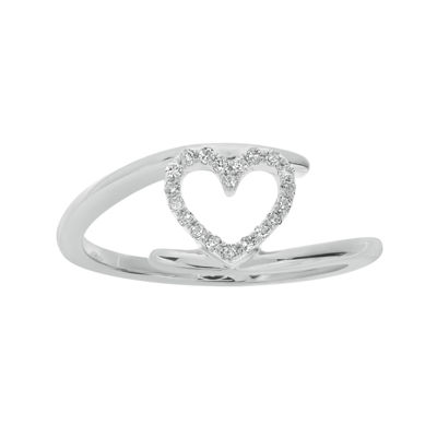 1/10 CT. T.W. Diamond 10K White Gold Heart Bypass Ring