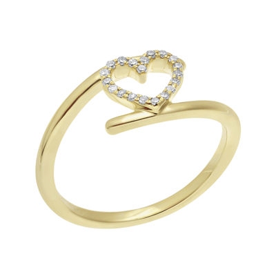 1/10 CT. T.W. Diamond 10K Yellow Gold Heart Bypass Ring