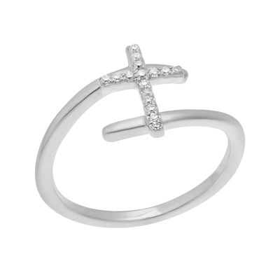1/10 CT. T.W. Diamond 10K White Gold Cross Bypass Ring