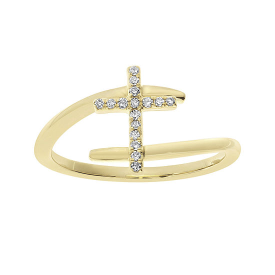 1 10 Ct Tw Diamond 10k Yellow Gold Cross Bypass Ring