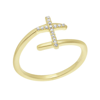 1/10 CT. T.W. Diamond 10K Yellow Gold Cross Bypass Ring