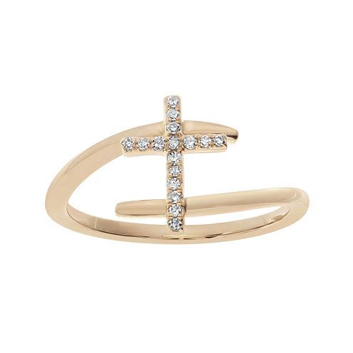 1/10 CT. T.W. Diamond 10K Rose Gold Cross Bypass Ring