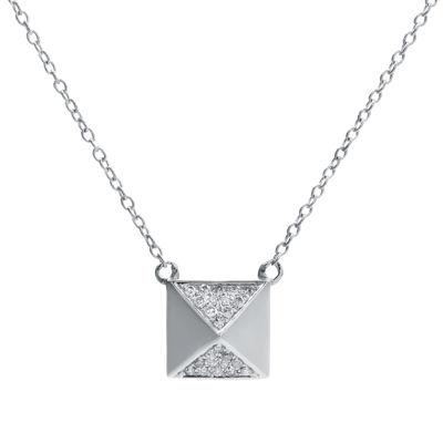 1/10 CT. T.W. Diamond 10K White Gold Pyramid Necklace