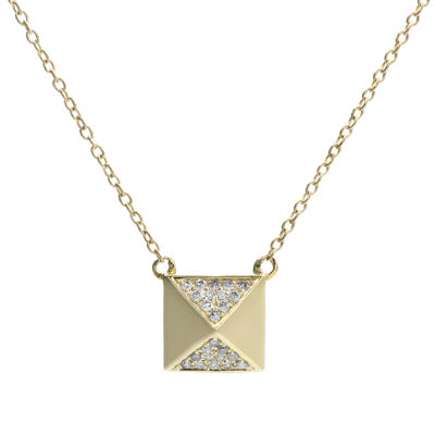 1/10 CT. T.W. Diamond 10K Yellow Gold Pyramid Necklace